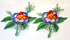 2X PRETTY BLUE FLOWER POSY Embroidered Iron Sew On Cloth Patch Badge  APPLIQUE