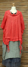 "LAGENLOOK LINEN QUIRKY BOHO ART TUNIC *SALMON ROSES*BUST UP TO 46""OSFA ITALY"