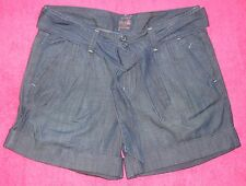 Lucky Brand Blue Denim Belted Cuffed Womens Shorts 16 / 33 Retail $68