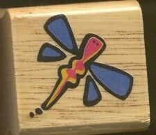 DRAGONFLY Wings Insect  DESIGN SHAPE SMALL Tag NEW Wood Mount Craft RUBBER STAMP