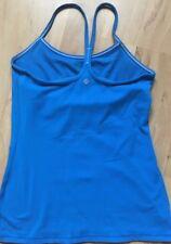 LULULEMON Power Y Tank Top w Shelf Bra  Blue w White Stitch sz 8 Yoga Gym Spin