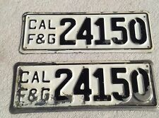 CAL F&G  Boat License Plate Set   # 24150  Rare License Plate set for Boats.