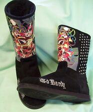 ED HARDY Black Suede Fur Lined PEACE LOVE  Stud Studded Boots sz 7.5  EVER WORN?