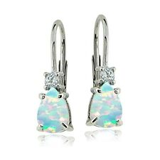 Sterling Silver Created White Opal & White Topaz Teardrop Leverback Earrings