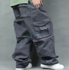 Men's Cargo Pockets Military Loose Multi Casual Trousers Baggy Overalls Pants