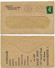 GB HENSHAWS INSTITUTE for BLIND ADVERTISING ENVELOPE + PERFIN 1937 MANCHESTER