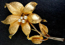 Coro Brooch Lily Flower Pin Pearl Center Stamen Large Brushed Gold Tone Textured