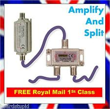 Satellite Signal Amplifier and Splitter Kit Run 2 Tuners with 3 Sat Cables