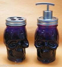 SKULL  MASON JAR SOAP  PURPLE DISPENSER AND TOOTH BRUSH HOLDER