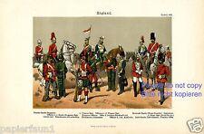 Uniform England Kunstdruck von 1892 Schotte Soldat Ire Garde Dragoner Infantrie