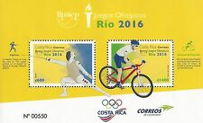 COSTA RICA UPAEP, OLYMPIC GAMES RÍO 2016, BIKING, FENCING, MNH 2016 NEW