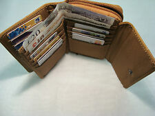 Cow Leather Ladies Purse Wallet with Double Credit Cards Sections Tan Colour