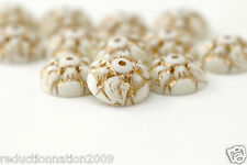 Vintage Lucite Bead Caps Cream Gold Etched Carved 14mm (12)