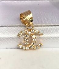 18k Solid Yellow Gold Cute Small Charm/ Pendant With White Stones. 1.32 Grams
