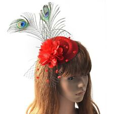 Red Pillbox Hat Lady Feather Hair Clip Fascinator Party Ascot Flower Peafowl