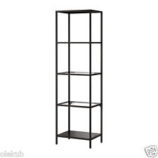 "IKEA VITTSJÖ Shelving Unit Metal Frame Display Modern Black Glass VITTSJO 20"" W"
