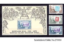 NORFOLK ISLANDS - 1979 DEATH CENTENARY OF SIR ROWLAND HILL 3-STAMPS & 1-MIN/SHT