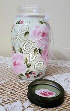 Roses Shabby Chic Mason Jar LOVE Candle Holder Cottage Style Hand Painted