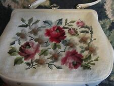 Shabby vintage chic romantic pink roses handbag bag purse ladies needlepoint