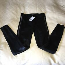 VINCE Black Stretch Leather Side Zippers Leggings Pants   SZ large