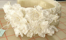 bridal tiara headband head piece white with flowers & pearls beaded fabric R193