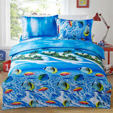 Sea Fish Queen Size Bed Quilt/Doona/Duvet Cover Set New Pillow Cases Polyester