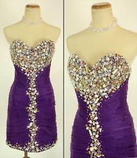 NWT Jovani Size 2 Short $480 Evening Cruise Prom Dress Purple Strapless Knee