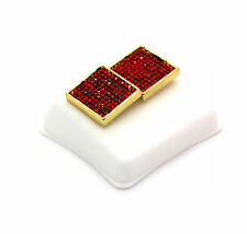Mens 14K Gold Plated Iced Out Red Cz Square Earrings 10 Row Micro Pave Hip-Hop ~
