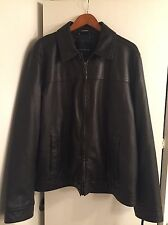 TOMMY HILFIGER MEN'S LEATHER JACKET, RETAILS FOR OVER $300 SIZE XL NWT BROWN
