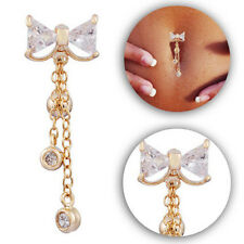 Sexy Reverse Belly Ring Clear Navel Bar Gold Bow Dangle Body Jewelry Piercing