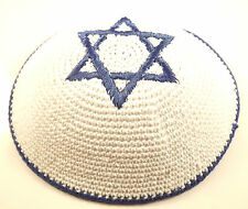 Dark Blue White Star Of David Knitted Yarmulke Kippah 16 cm Jewish Kippa Judaica