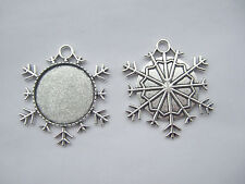 5 x Antique Silver 25mm Round Snowflake Frame Pendant Trays Blank Cameo Setting