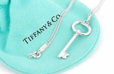 "Tiffany & Co. Sterling Silver Small 1.5"" Oval Key Pendant 18"" Necklace w/ Pouch"