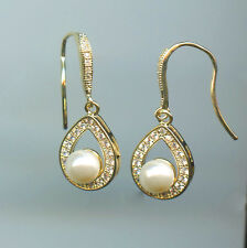 YELLOW GOLD PLATED SPARKLING RUSSIAN CZ & 6MM FAUX PEARL DANGLE EARRINGS