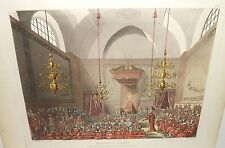 """Rowlandson & Pugin J.Bluck """"House of Lords"""" Originlal hand colored Engraving"""