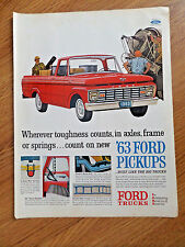 1963 Ford Pickup Truck Ad Wherever Toughness Counts in Axles Frame Springs