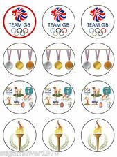 Olympics 2016 themed edible ICING cupcake toppers NOT rice paper x12