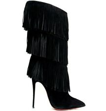 Christian Louboutin black suede fringe boots 100mm size 42