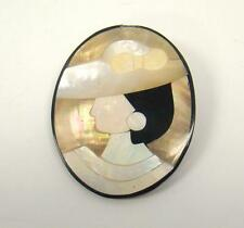 "VINTAGE MOTHER OF PEARL SHELL MOSAIC LEFT FACING CAMEO OVAL BROOCH 2"" X 1.5"""