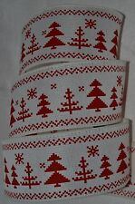 Wired Ribbon~Rustic Christmas Red Tree~Primitive Woven Holiday White~Wreath~Bow