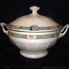 C TIELSCH ALTWASSER 2241 ROUND COVERED TUREEN & LID BLUE BAND SILESIA CTI146