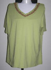 quality SUSAN BLAKE 20 DUSTY LIME SH-SLEEVED COTTON BLEND TOP w WOOD BEAD V-NECK
