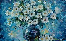 Framed Print - Abstract Bunch of Daises in a Blue Vase (Picture Poster Art Daisy