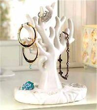 WHITE CORAL ANEMONE PORCELAIN TREE JEWELRY HOLDER RACK STAND  ** NIB