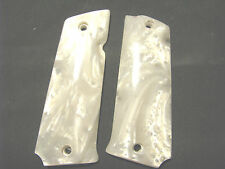 Llama LARGE Frame Semi-Auto White Pearl Smooth Pistol Gun Grips -  Beautiful!