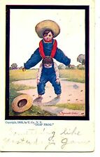 Country Boys Play Leap Frog Game-Artist Drawn Signed Wall-Vintage Postcard
