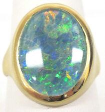 18K Brushed Yellow Gold 20.6mmx15mm Boulder Opal Solitairy Stone Ring Size 10.5