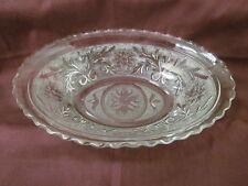 """Vtg 8.75"""" x 5.75"""" Clear Glass Oval Serving Relish Bowl Floral Hobnail Design"""