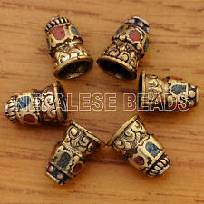 UB2166A Nepalese Handmade Turquoise Coral Brass 6 Cone Beads from Nepal by Eksha
