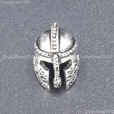 Solid Metal Ancient Greek Helmets Masks Tibetan Bracelet Connector Charm Beads